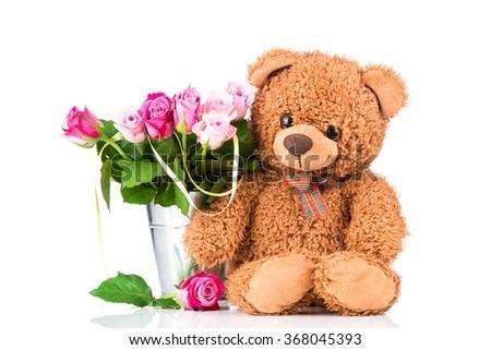 Teddy Bear Bright Flowers Vase On Stock Photo Royalty Free