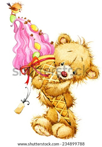 Teddy bear and ice cream. watercolor - stock photo