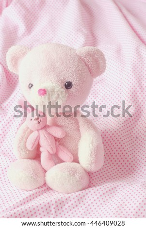 teddy bear and little rabbit  - stock photo