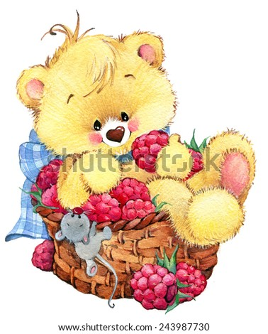teddy bear picnic two background greetings stock illustration, Greeting card