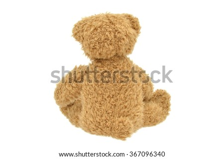 Teddy Bear Back to camera isolated on white background