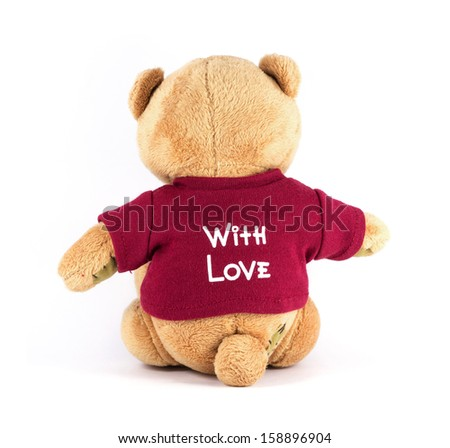 TEDDY BEAR brown color backside wear red shirt with Love on white background - stock photo