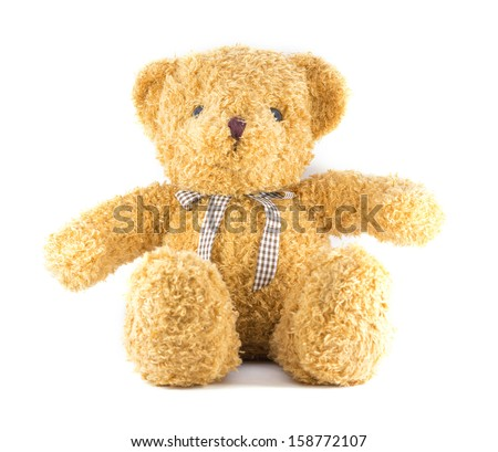 TEDDY BEAR brown color with ribbon on white background