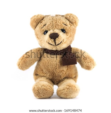 TEDDY BEAR brown color with scarf on white background - stock photo