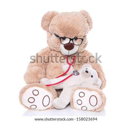 Teddy bear doing health check with stethoscope isolated on white background - doctor and a teddy child  - stock photo