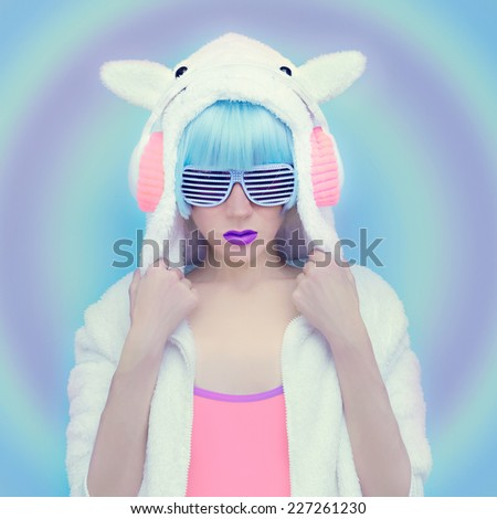 Teddy Bear Girl DJ. Crazy Winter party. Club Dance Style - stock photo