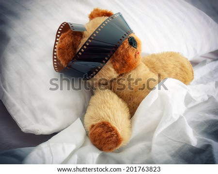 Teddy bear has some vivid almost movie dreams during sleep.