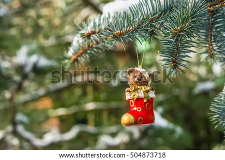 Teddy bear in Christmas sock on snowy branch fir, Christmas decoration