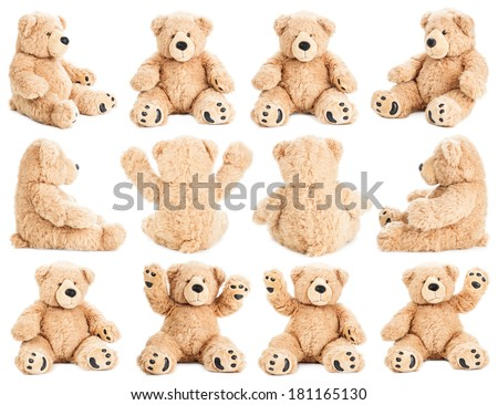 Teddy bear in different positions - stock photo