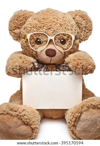 Teddy bear in glasses with blank banner