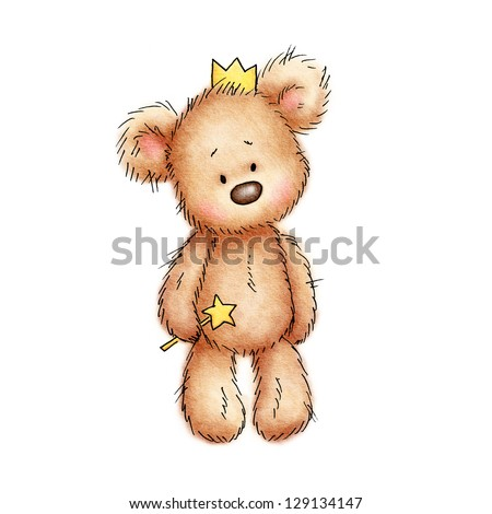 teddy bear in the crown on white background