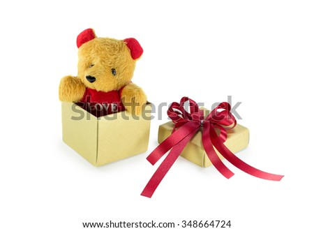 Teddy bear in the gift box that isolated on white background