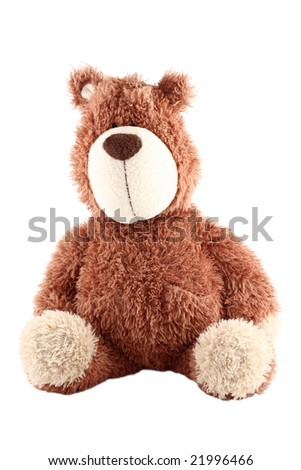 teddy bear isolated (with clipping path) - stock photo