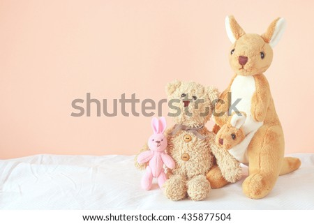 teddy bear , kangaroo and little rabbit  - stock photo