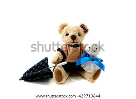 Teddy Bear of the rainy season of the day - stock photo