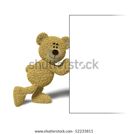 Teddy Bear pushing an empty billboard with his hands. You can place your logo or text into that empty box. - stock photo