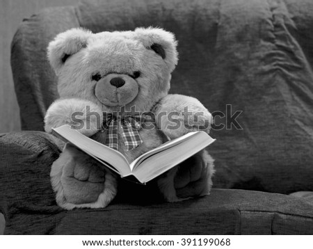 Teddy bear reading book seating on the sofa - black and white - close up black and white - open children's book