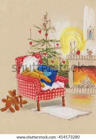 Teddy bear sitting in a leather chair near the fireplace. Christmas Illustration. Christmas tree and fire-place, toy bear, candles and gifts. Christmas concept.  - stock photo