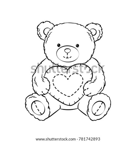 Teddy Bear Toy Heart Coloring Book Stock Illustration 781742893 ...