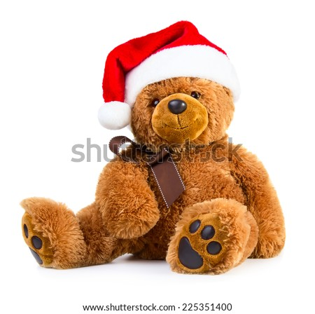 Teddy bear wearing a santa hat isolated on white background - stock photo