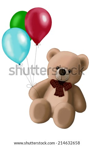 Teddy Bear with balloons isolated on white background - stock photo