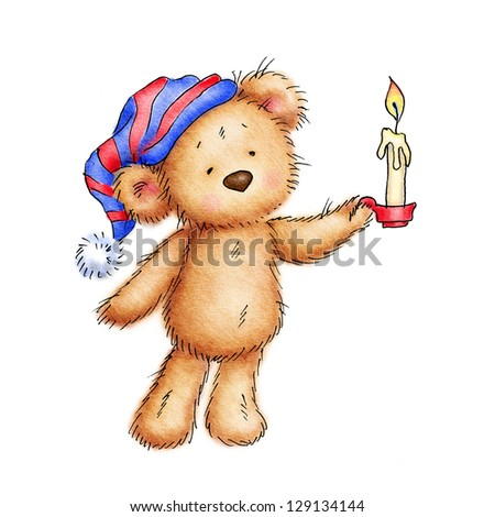 teddy bear with candle and in nightcap on white background - stock photo