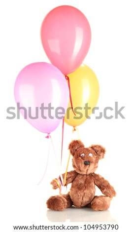 teddy bear with colorful balloons isolated on white