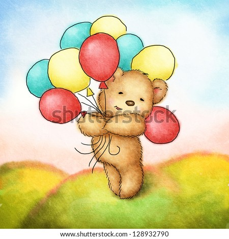 teddy bear with colorfull balloons on green grass - stock photo