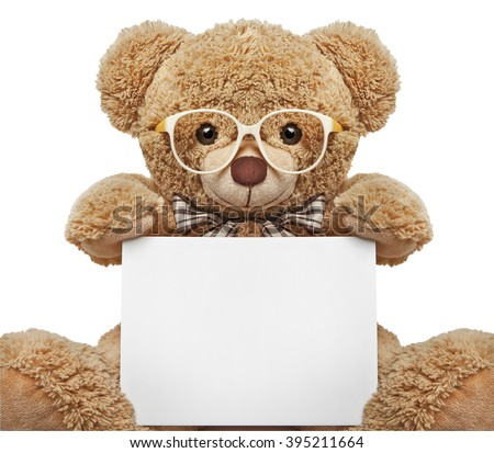 Teddy bear with glasses holding a blank banner