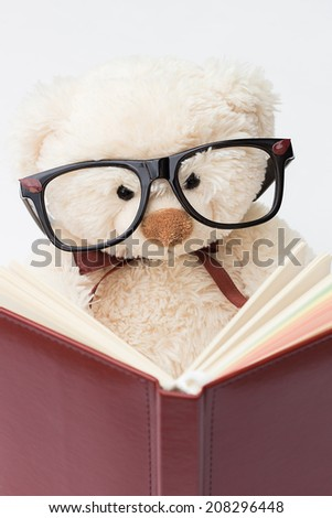 Teddy Bear with Glasses Reading a Book - stock photo