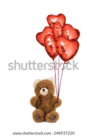Teddy bear with many helium filled red heart balloons for saint valentine's day, birthday or other celebration. With pure white background to use as you wish. - stock photo
