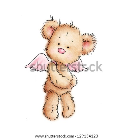 teddy bear with pink wings on white background