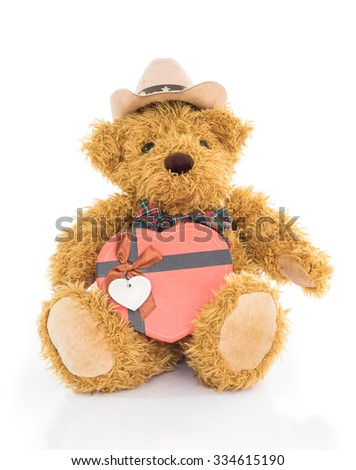 Teddy bear with  Red heart shaped gift box on white background - stock photo