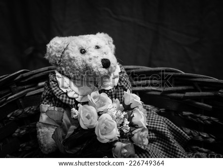 Teddy bear  with rose in the basket loneliness wait concept,still life,black and white