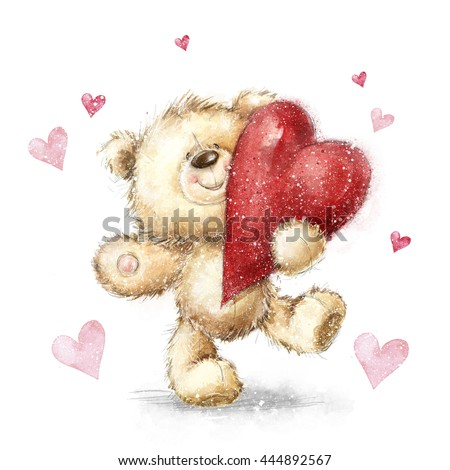 450 x 470 jpeg 43kB, ... day poster. Cute teddy bear holding big red ...