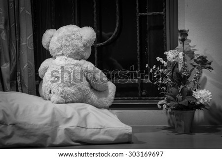 Teddy bears in a deep depression, black&white, concept