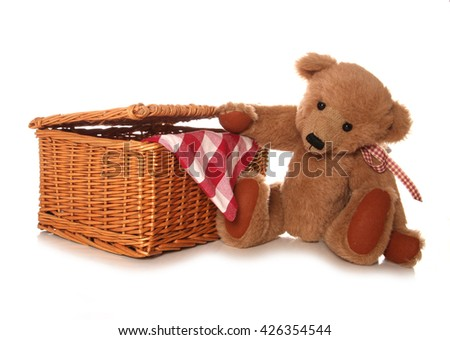 teddy bears picnic studio cutout - stock photo