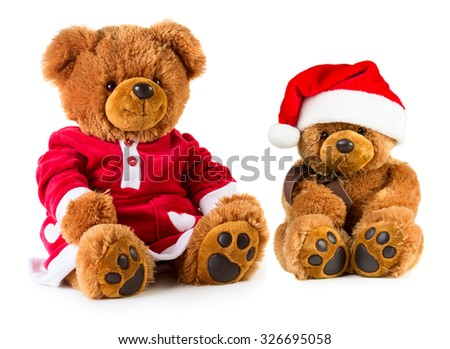 Teddy bears wearing a Christmas clothes isolated on white background. Mother and son - stock photo