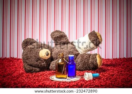 teddy is sick - stock photo