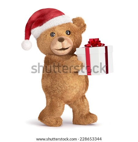 Teddy with a Christmas, isolated