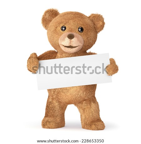 Teddy with empty card - stock photo