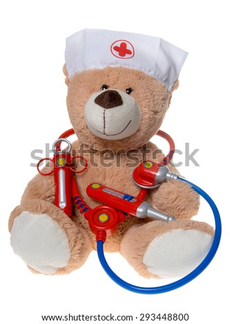 Teddy with stethoscope and syringe isolated on white background / pediatrician - stock photo