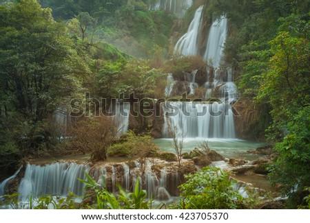 Tee lor su waterfall, Tak, Thailand - stock photo