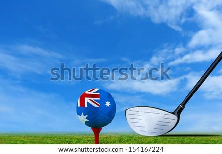 Tee off golf ball Australia - stock photo