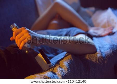 Teen alcohol addiction concept - stock photo