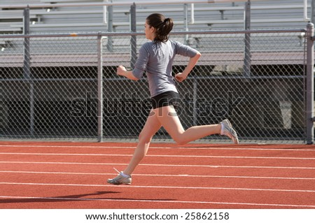 Teen athlete during practice - stock photo