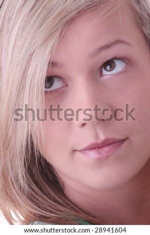 Teen blonde girl (student) portrait isolated on white background - stock photo