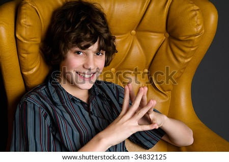teen boy in studio - stock photo