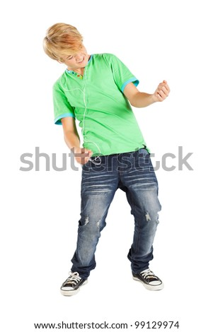 teen boy playing air guitar isolated on white - stock photo