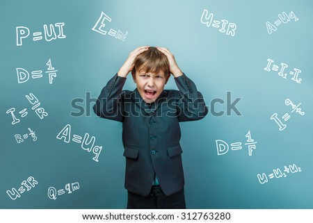Teen boy screaming businessman formula holds his head physicist science scientist studio background infographics - stock photo